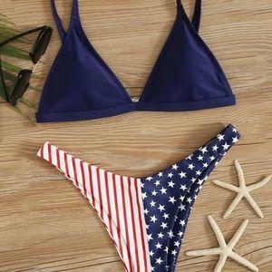 🇺🇸 NEW American Flag Print Triangle Bikini Set